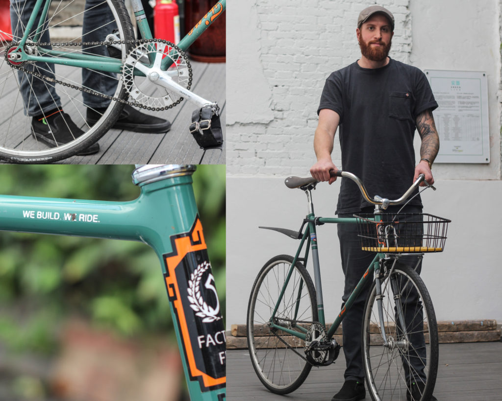 Tyler and the custom fixed gear bike he uses daily.