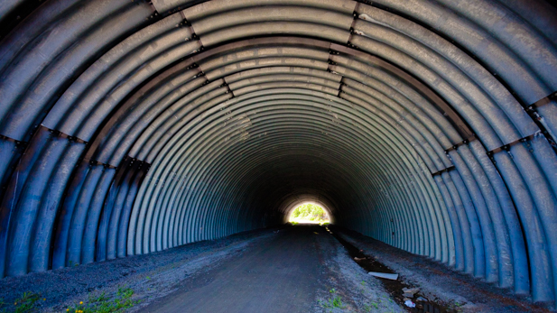 The K&P Trail passes under Highway 401 through this giant culvert.