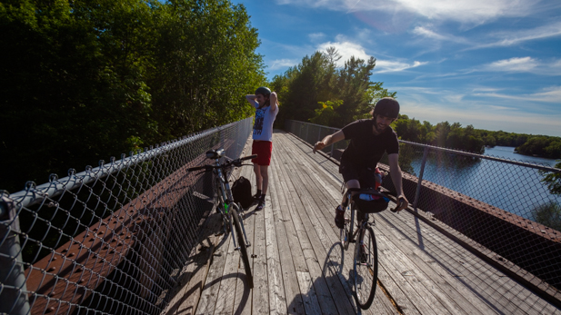 Taking a quick break on the old CN bridge that crosses the Rideau Canal at Chaffeys Lock, near the Opinicon Resort.