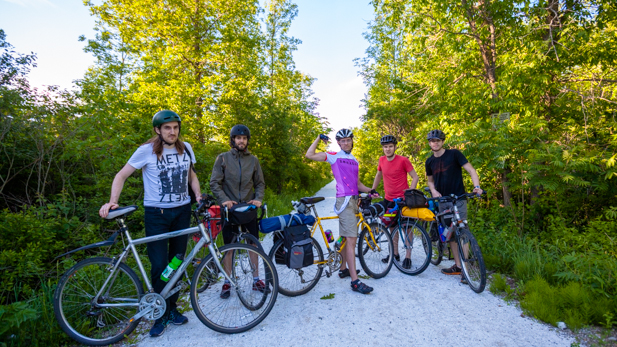 The gang's all here. A section of the trail changed to gleaming quartz approaching Smiths Falls. After stretches of wet grass and loose pebbles, this might as well have been gold.
